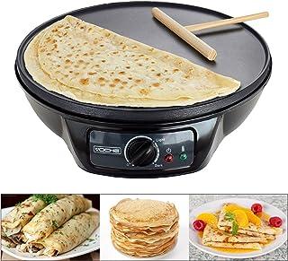 Voche® 1000W elektrisk pannkaka och kräftmaskin med 30 cm non-stick värmeplatta och gratis redskap