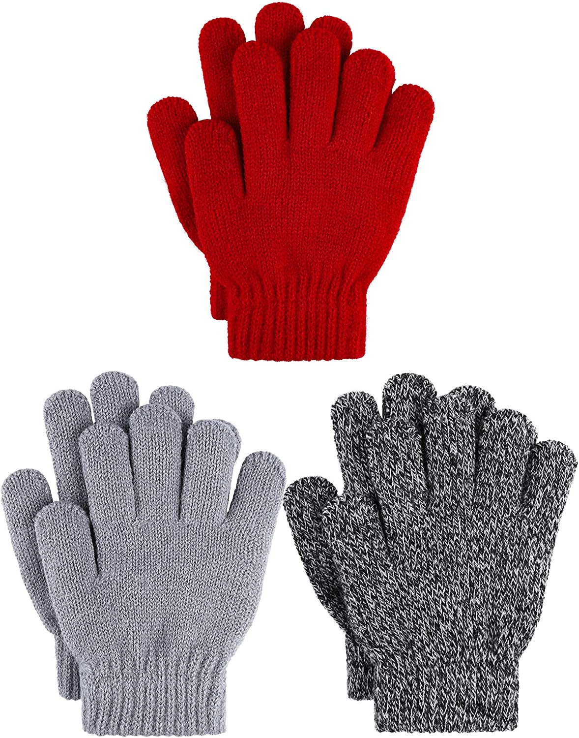 Cooraby 3 Pairs Kid's Winter Gloves Thick Cashmere Warm Knitted Gloves Children Cold Weather Gloves