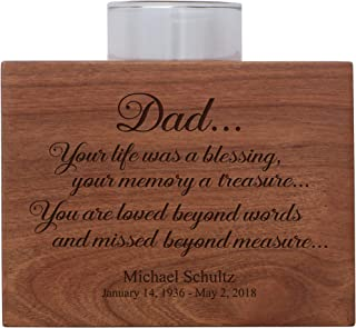 """LifeSong Milestones Personalized Memorial Sympathy Votive Funeral Candle Holder Cherry Wood Keepsake Gift Ideas for Loved One 3.75"""" x 3.75"""" x 2.75 (Dad, Your Life was A Blessing)"""