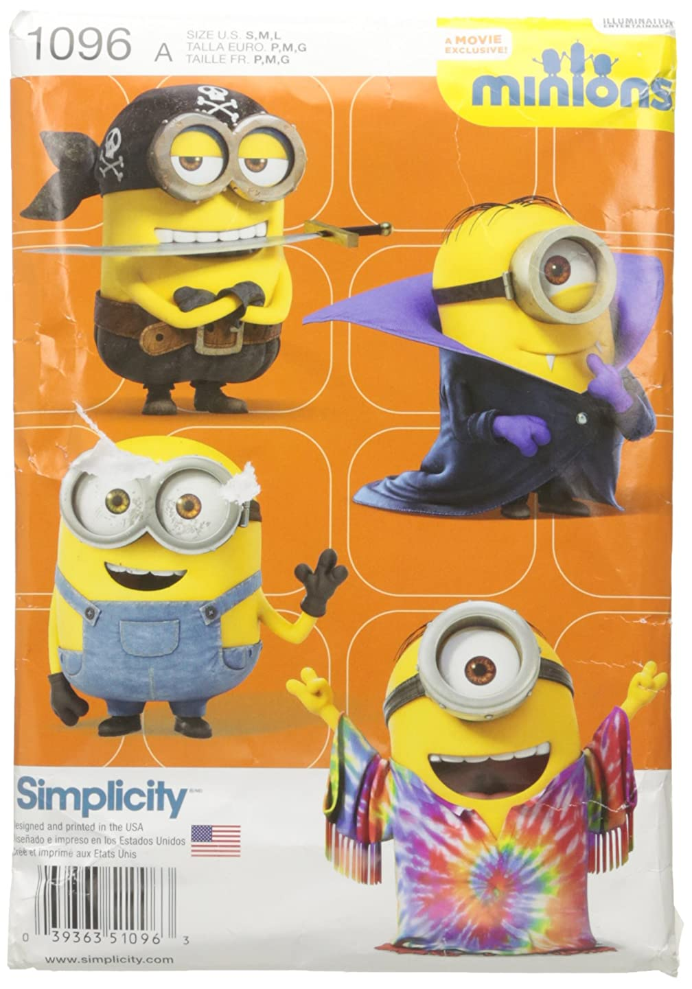 Simplicity Creative Patterns US1096A Childs Minion Costumes, Size A (S-M-L)