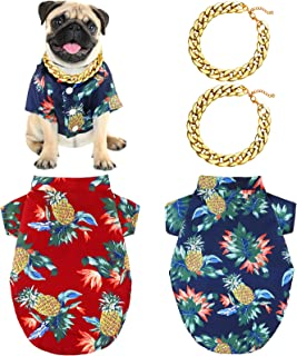 4 Pieces Hawaiian Pet Shirt with Cool Plastic Pet Chain Summer Sweatshirts Pet Shirt Breathable Dog and Cat Clothes for Me...