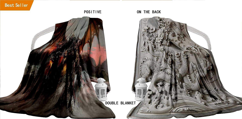 Double Sided Baby Picnic Blanket, Fantasy World Decor Illustration
