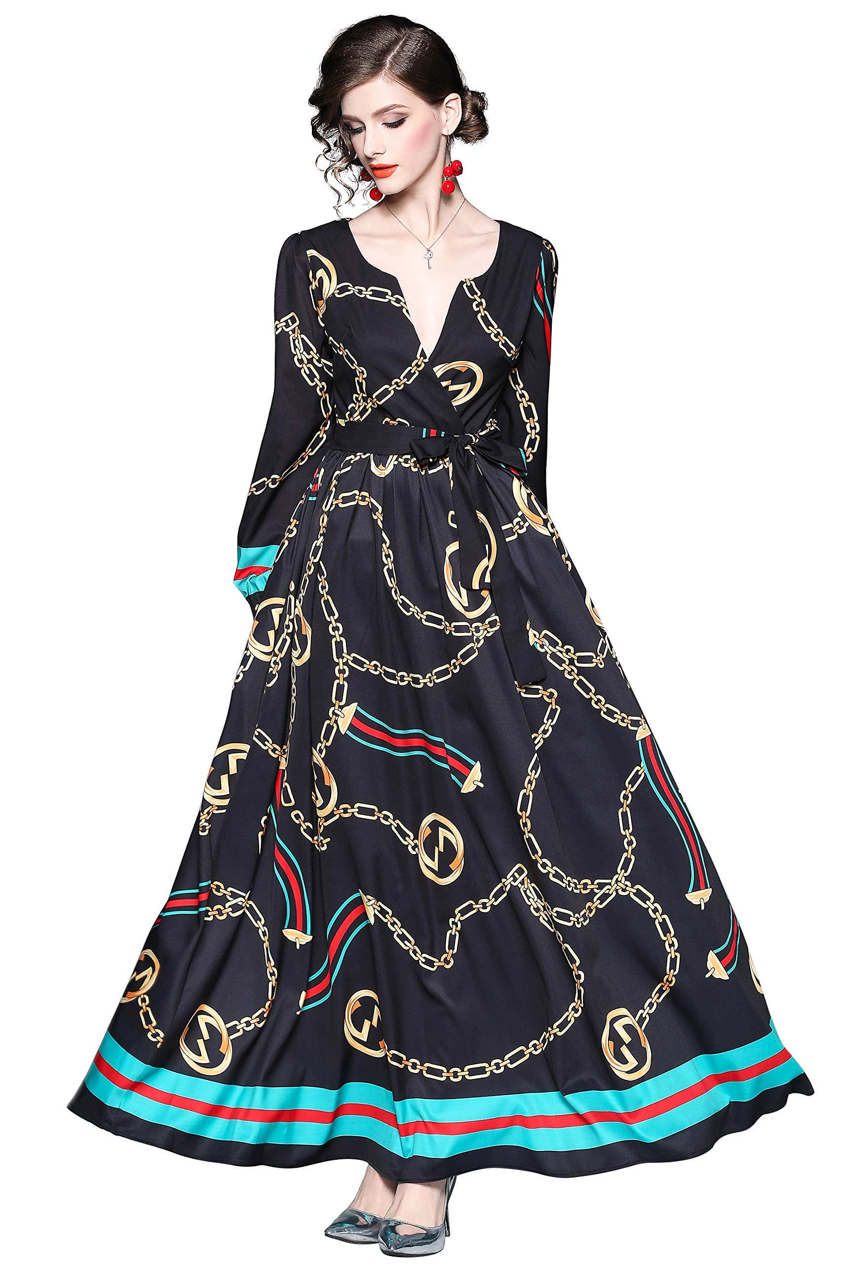 Available at Amazon: LAI MENG FIVE CATS Women's V Neck Baroque Print Big Swing Maxi Dress with Belt for PartyEvening