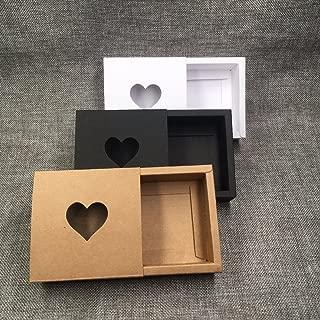Ranggrgt 50Pcs Kraft Drawer Box with PVC Heart Window for GiftHandmade SoapCraftsJewelryMacarons Packing Brown Paper Storage Boxes Black