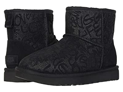 UGG Classic Mini Sparkle Graffiti (Black) Women