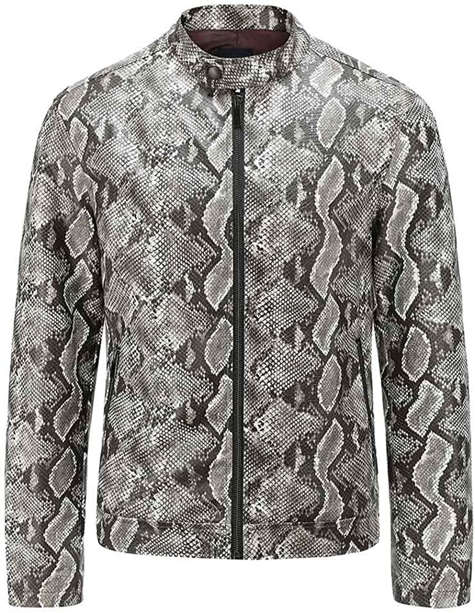 AOWOFS Men's Collar Faux Leather Jacket Fashion Snake Printed Casual Outerwear Coats