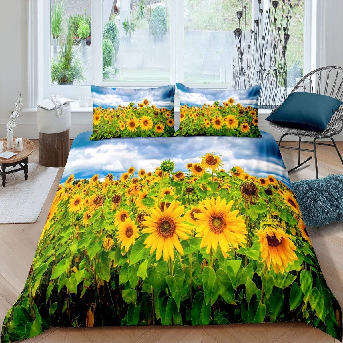 Erosebridal 人気ブランド Sunflower Comforter Cover Set ギフ_包装 Yellow Bedding Blossom