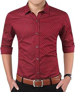 Aiyino Men`s 100% Cotton Long Sleeve Plaid Slim Fit Button Down Dress Shirt