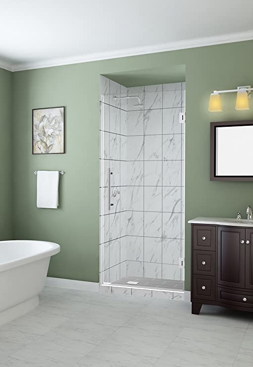 Aston Sdr997ez Ch 10 Kinkade 24 X 72 Completely Frameless Hinged Alcove Shower Door With Starcast Clear Glass Polished Chrome