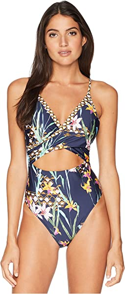 7b2c6b746f5e5 Trina turk royal botanical v plunge one piece | Shipped Free at Zappos