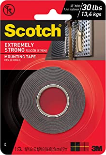 Scotch Extremely Strong Mounting Tape, 1-inch X 60-inches, Black, Holds up to 30 pounds, 1-Roll (414P)