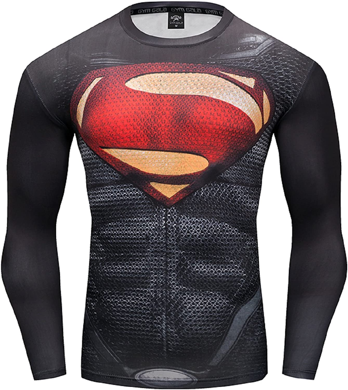 GYM GALA Los Angeles Mall Superman Men Long Compression Fitness Shirt trust Sleeve