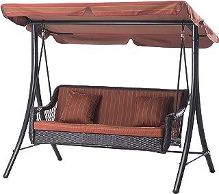 Sunjoy 3-Seat Striped Adjustable Tilt Canopy Wicker Metal Swing