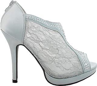 David's Bridal Lace High Heel Shootie with Flatback Crystals Style AYAEL9
