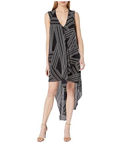 BCBGMAXAZRIA Asymmetrical Hem Dress (Optic White/Crossway Stripe) Women