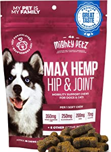 MAX Hemp Glucosamine for Dogs - 10-in-1 Vet Formulated Hip & Joint Chews with Hemp Seed Oil + MSM + Chondroitin + Turmeric. Advanced Support Supplement with Vitamins & Omega 3 - Mobility & Pain Relief