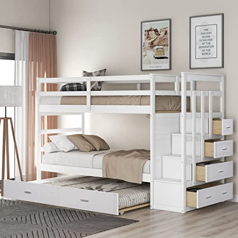 Amazon Com Merax Twin Over Twin Trundle Bunk Bed With 4 Storage Drawers And Staircase White Kitchen Dining