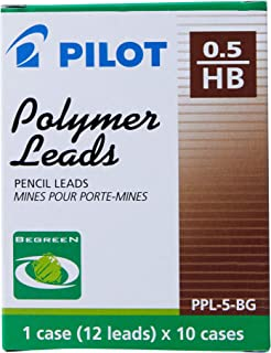 Pilot HB Progrex Begreen 0.5 mm Mechanical Pencil Leads, Black, (PPL-5-HB-BG HB) - Pack of 10