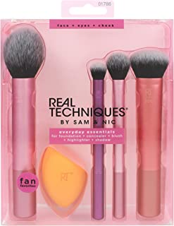 Real Techniques Everyday Essentials Makeup Brush Complete Face Set (Miracle Complexion Sponge, Expert Face, Blush, Setting and Deluxe Crease Brushes)