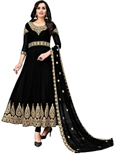 Divine International Trading Co Women's Anarkali Faux Georgette Embroidery Semi-stitched Salwar Suit Dupatta Material