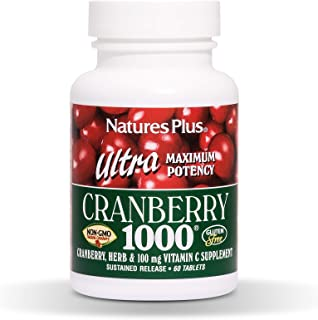 NaturesPlus Ultra Cranberry 1000, Sustained Release - 1000 mg, 60 Vegetarian Tablets - Natural Cranberry With Vitamin C - ...