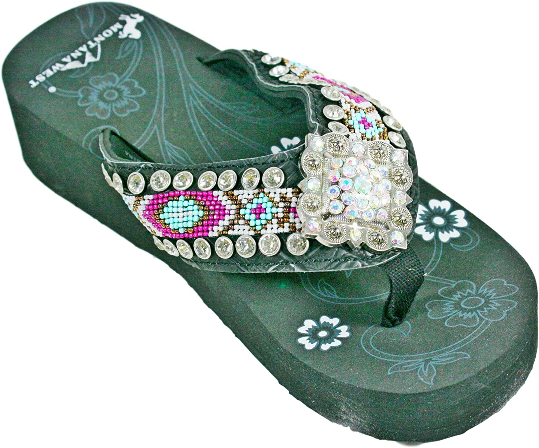 Montana West Hand Beaded Rhinestone Concho Aztec Print Flip Flop shoes