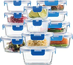 24-Piece Superior Glass Food Storage Containers Set - Newly Innovated Hinged BPA-free Locking lids - 100% Leak Proof Glass...