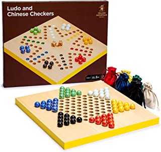 Yellow Mountain Imports 2-in-1 Reversible Ludo and Chinese Checkers Halma Wood and Glass Marble Game Set - 12-Inch