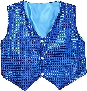 YOOJIA Kids Boys Jazz Dance Performance Costume Kids Boys Glittery Sequined Vest Waistcoat