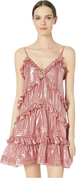 Metallic Chiffon Ruffle Dress