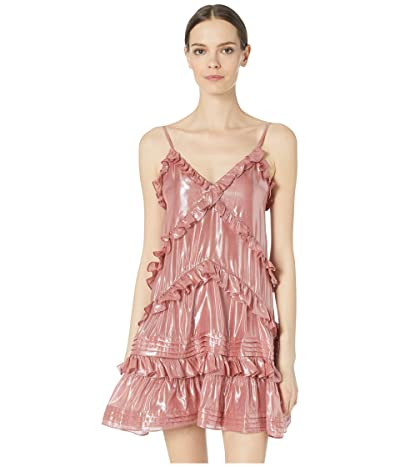 Rebecca Taylor Metallic Chiffon Ruffle Dress (Rose) Women