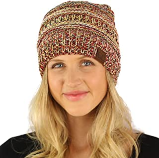5bb09753247a43 Quad Color Warm Chunky Thick Soft Stretch Knit Slouch Beanie Skull Hat
