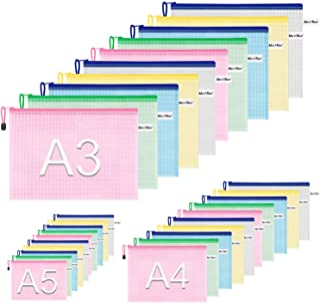 Zipper Pouch Document Bag(5 Colors,30 Pack), Letter Size Waterproof Document Pouch for School Office Supplies, Cross Stitc...