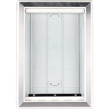 BarksBar Original Plastic Dog Door with Aluminum Lining - White, Soft Flap, 2-Way Locking Sliding Panel and Telescoping Frame
