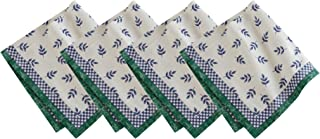 """Villeroy and Boch Leaf and Check Cotton Fabric Reversible Placemat, Multicolor, 21""""X21"""""""