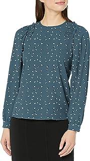 Marca Amazon - Lark & Ro Long Sleeve Smocking Detail Blouse - dress-shirts Mujer