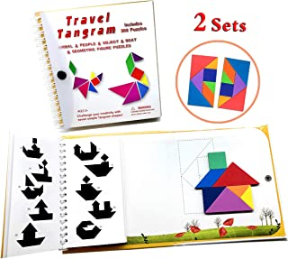 Tangram Travel Games 360 Magnetic Puzzles and Questions Build Animals People Objects with 7 Simple Magnetic Colorful Shapes Kid Adult Challenge IQ Educational Book【2 Set of Tangrams】