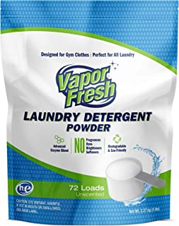 Vapor Fresh Laundry Detergent Powder - 72 Loads - Free and Clear - Unscented - HE Safe - Cold Water Enzymes - Ideal Laundry Soap for Sports and Activewear (5 Pounds)