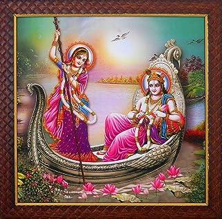 DollsofIndia Radha Krishna on a Boat Ride - Screen Print - Framed - 13 x 13 inches (UC14)