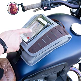 Vuz Moto Magnetic Mount Tank Bag with Phone Window, Multiple Compartments, Leather Handcrafted Finish
