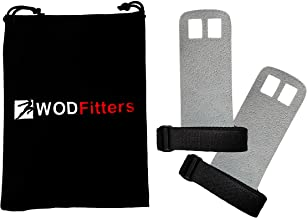 WODFitters Textured Leather Hand Grips for Cross Training, Kettlebells, Powerlifting, Chin Ups, Pull Ups, WODs & Gymnastics – with Grips Storage Pouch