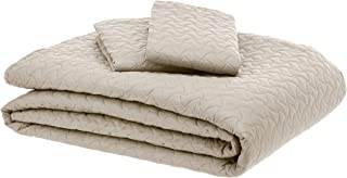 AmazonBasics Oversized Quilt Coverlet Bed Set - Full or Queen, Beige Wave