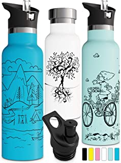 Double Walled Insulated Water Bottle with Straw Lid & Sports Cap   Kids Stainless Steel Thermos   Metal BPA Free Eco Friendly Non Sweat Durable Finish 12oz/ 17oz/ 20oz/ 25oz