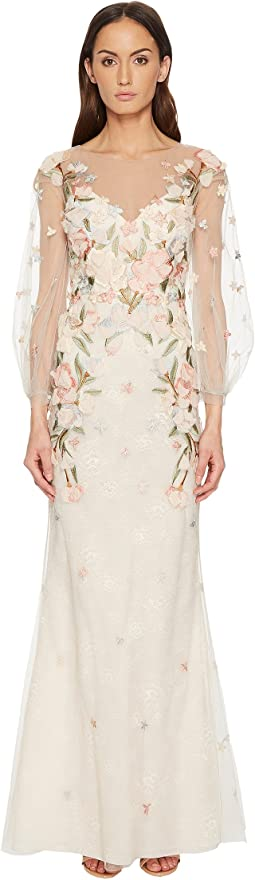 Marchesa Notte - Embroidery Embellished Gown