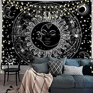 PROCIDA Trippy Sun and Moon Tapestry Psychedelic Black and White Star Celestial Galaxy Mystic Wall Hanging Blanket for Bedroom College Dorm Decor with Nails 90W x 71L, Black