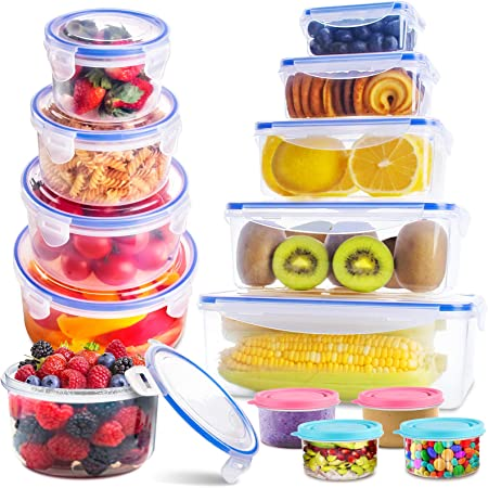 Food Storage Containers with Lids(26 Pack), Kitchen Food Organizer Containers - Snacks, Sandwich & Bento box, BPA Free Plastic Containers Set, Freezer & Microwave Safe