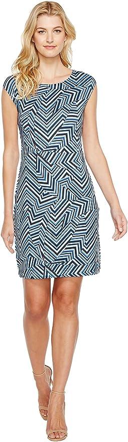 Geometric Print Cap Sleeve Dress