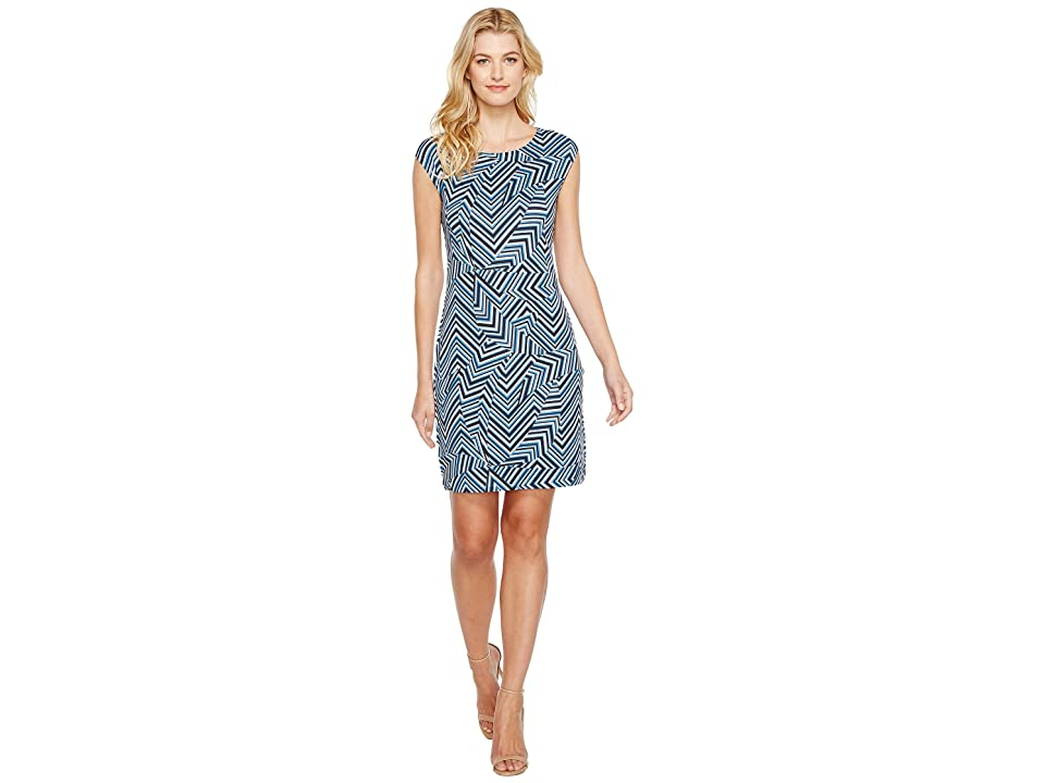 Nally & Millie Geometric Print Cap Sleeve Dress (Multi) Women