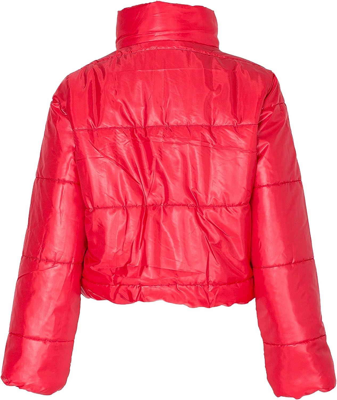 NOROZE Damen Crop Jacke Steppjacke Kurzes Puffer-Mantel Rot