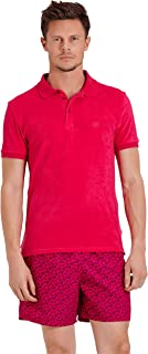 Men Terry Cloth Polo Shirt Solid